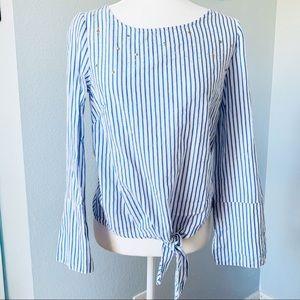 Nanette Lepore Blue/White Long Bell Sleeve Top Sm